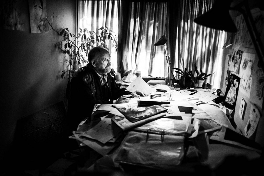 Kurt Westergaard seen working at his desk, at the Jyllands Posten, in Aarhus Denmark, on March 10, 2008.